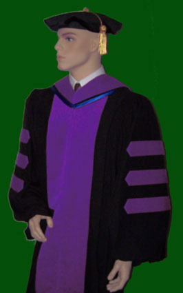 The JD doctoral gown and JD hood by Caps and Gowns Direct