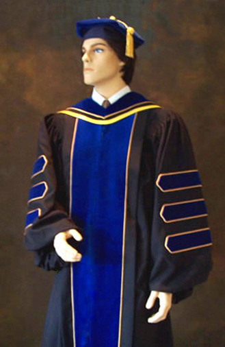 The PhD gown and doctoral robe by Caps and Gowns Direct