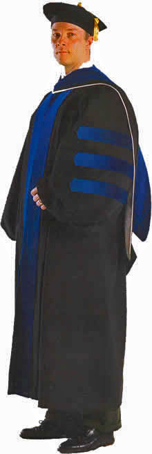 deluxe doctoral gown, hood and velvet tam